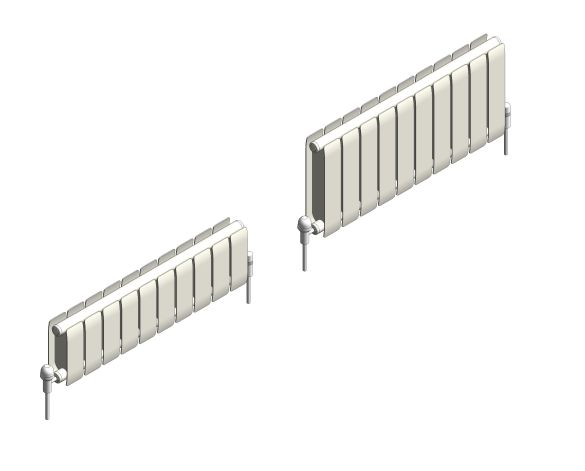 bimstore 3D range image of the Faral Low Sill Aluminium Radiator from AEL Heating.
