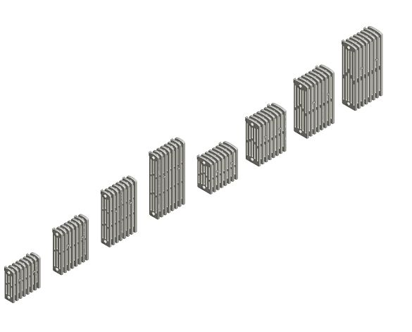 bimstore 3D image of the Victoriana Cast Iron Radiator Wall Range from AEL Heating.