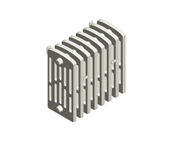 bimstore 3D image of the Victoriana Cast Iron Radiator RV6 Wall from AEL Heating.