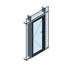 Product: AluK 58BD Residential Single Door (Curtain Wall Insert)