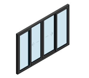 Product: AluK BSC94 Sliding Door - 4 Panel Wall Insert