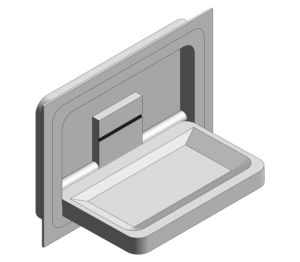 Product: Recess Mounted Stainless Steel Horizontal Baby Changing Station (9018)