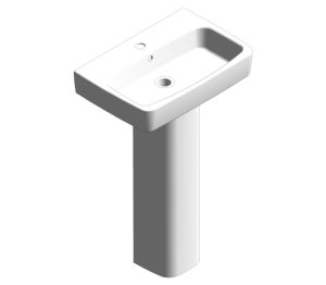 Product: E100 Square 550 Washbasin With Pedestal