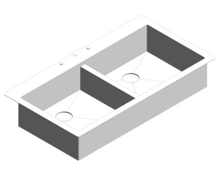 Revit, Bim, Store, Components, MEP, Object, Plumbing, Fixtures, METRIC, Grohe, Kitchen, Chrome, Sink, K800, 31585SD0