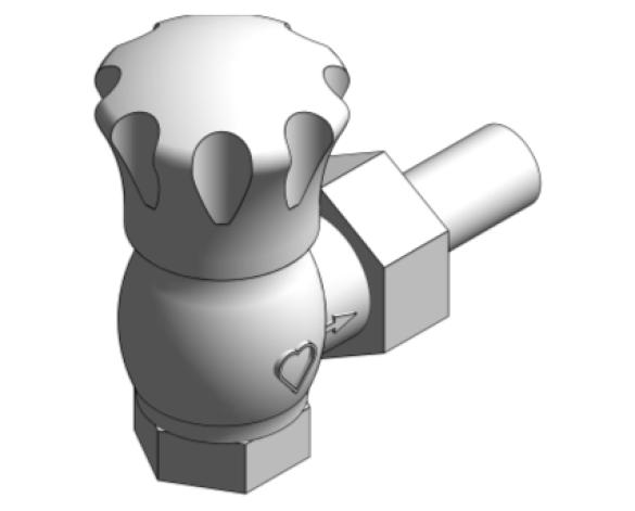 Revit, Bim, Store, Components, MEP, Object, Herz, Valves, Plumbing, Fixtures, 13, Metric, thermostatic, radiator, valve, angle, reverse, body, 15524