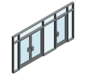 Product: AA190 TB Door - FFG into AA100 (Curtain Wall Door)