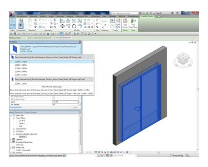 Revit, BIM, Download, Free, Components, Object, Interspec, Single, Door, 00, Lloyd, Worrall, Double, leaf, ironmongery, doorset, detail