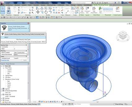 Revit,BIM,Download,Object,Free,Components,marley,alutec,DR217,sheet,flooring,shower,outlet,horizontal,socket