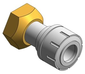 Product: PolyPlumb Straight Tap Connector with Brass Connecting Nut