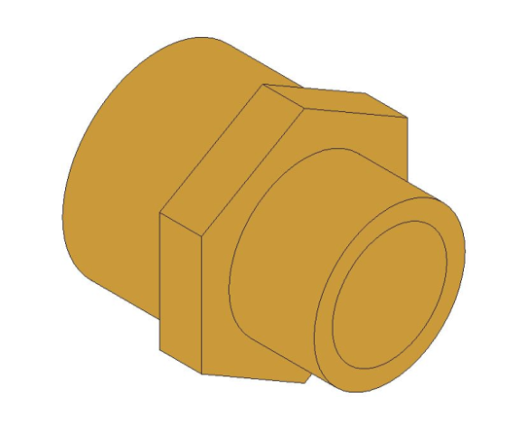 bimstore 3D image of the Brass Screwed Pipe Hexagon Nipple Reducing from Boss