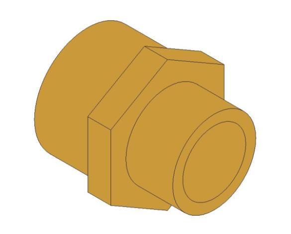 bimstore 3D image of the Brass Screwed Pipe Hexagon Nipple Reducing from Boss