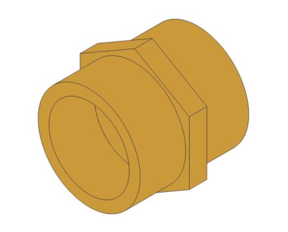 bimstore 3D image of the Brass Screwed Pipe Hexagon Nipple from Boss