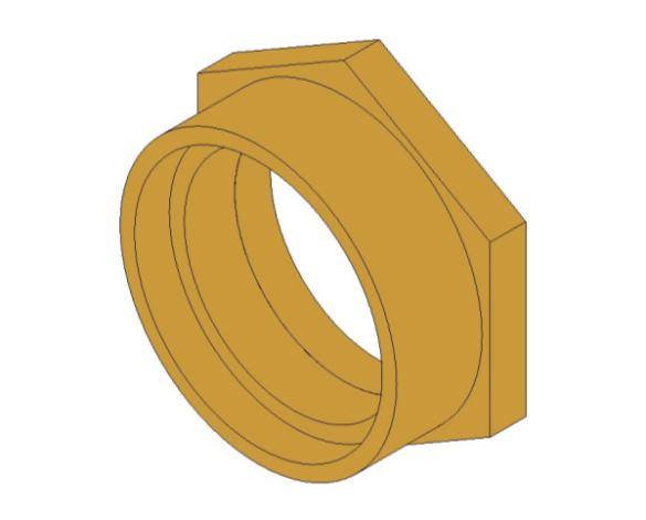 "bimstore 3D image of the Bronze Screwed Pipe Reducing Bush 2.1/2""x2"" from Boss"