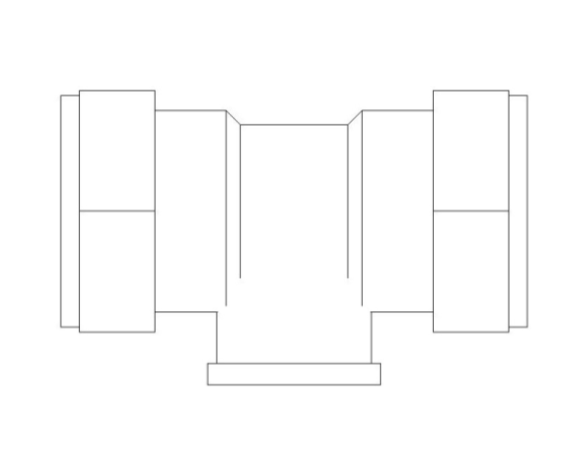 bimstore plan image of the Compression Female Branch Tee from Boss