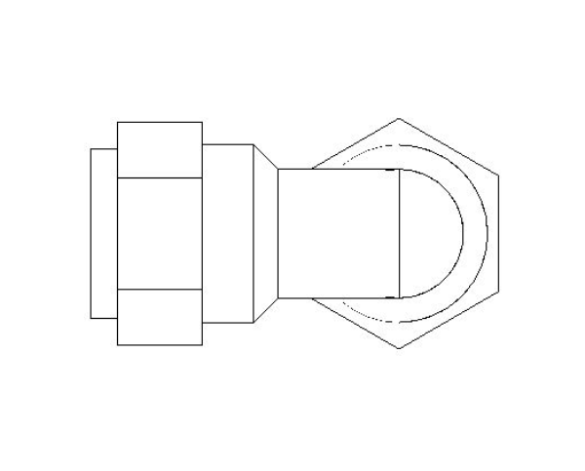 bimstore front image of the Compression Swivel Female Bent Tap Connector from Boss