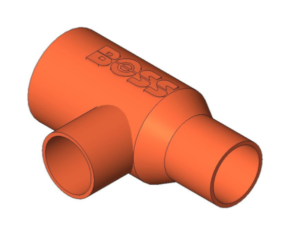 bimstore 3D image of the End Feed Fitting - End Reduced Tee from Boss