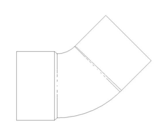 bimstore plan image of the End Feed Fitting 45 Degree Street Elbow from Boss