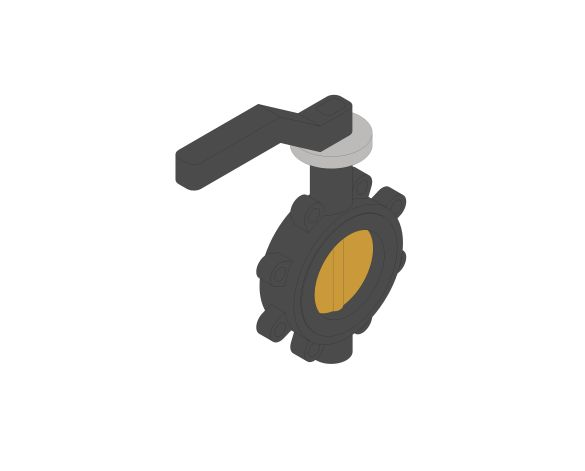 Product: F614 - Fully-Lugged Lever Operated Butterfly Valves - Ductile Iron