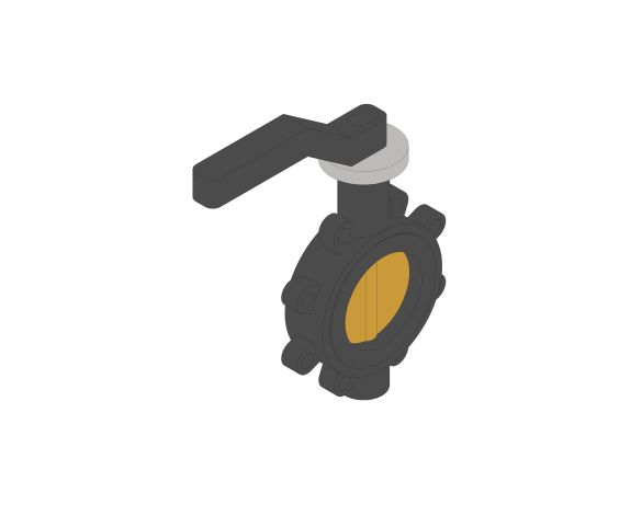 Product: F624 - Fully-Lugged Lever Operated Butterfly Valves - Ductile Iron