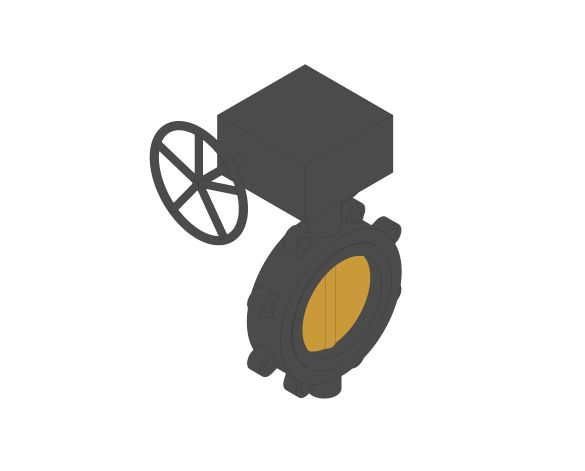 Product: F625 - Fully-Lugged Gearbox Operated Butterfly Valves - Ductile Iron