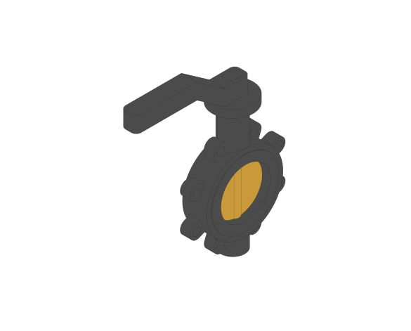 Product: F628 - Fully-Lugged Lever Operated Butterfly Valves - Ductile Iron