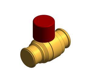 Product: DZR Press Fit Ball Valve - Lockshield - D172ALS.PF