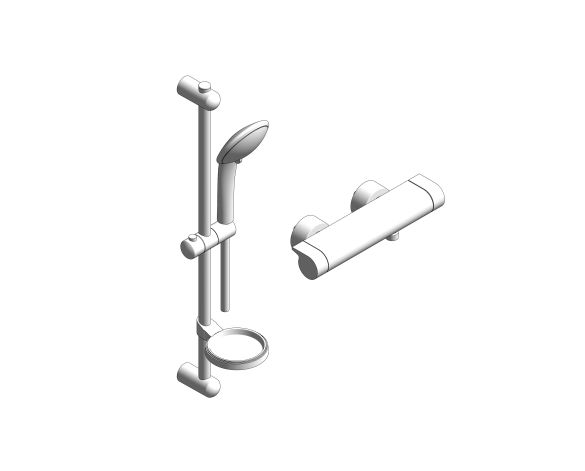 bimstore 3D image of the Grohe Grohtherm 2000 - Thermostatic shower mixer 1/2″ with shower set - 34195001