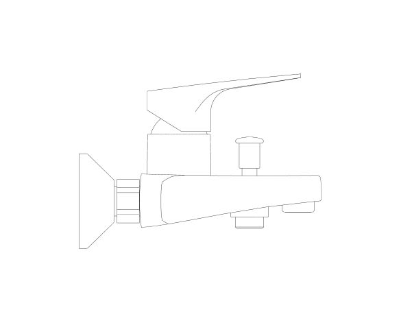 bimstore side image of the BauFlow Single Lever Bath Mixer - 23601000 from Grohe