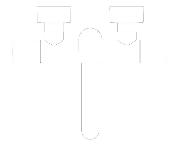 """bimstore plan image of the Eurosmart Cosmopolitan E Special Infra-Red Electronic Wall Basin Mixer With Thermostatic Temperature Control 1/2"""" M-Size - 36455000 from Grohe"""