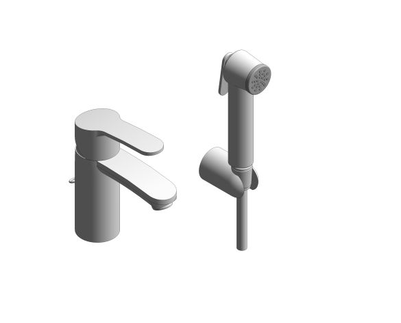 """bimstore 3D image of the Eurosmart Cosmopolitan Single Lever Basin Mixer 1/2"""" S-Size - 23953003 from Grohe"""