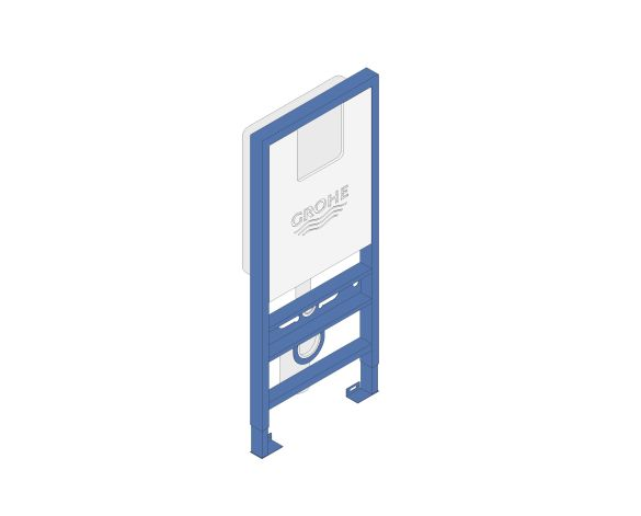 bimstore 3D image of the Rapid SLX Wall Hung WC Frame - 39596000 from Grohe