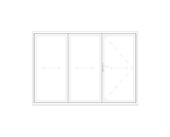 Product: OB-72 Aluminium Bi-fold Door (2+1)