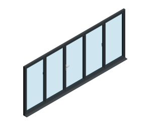Product: OB-72 Aluminium Bi-fold Door (2+3)