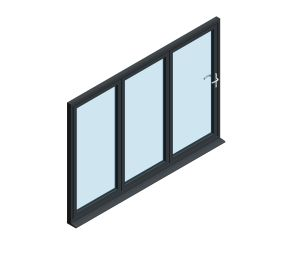 Product: OB-72 Aluminium Bi-fold Door (3+0)