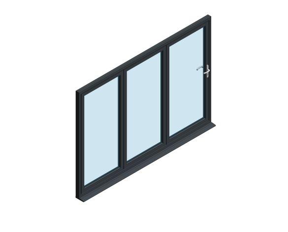 Product: OB-72 Aluminium Bi-fold Door (3+0)
