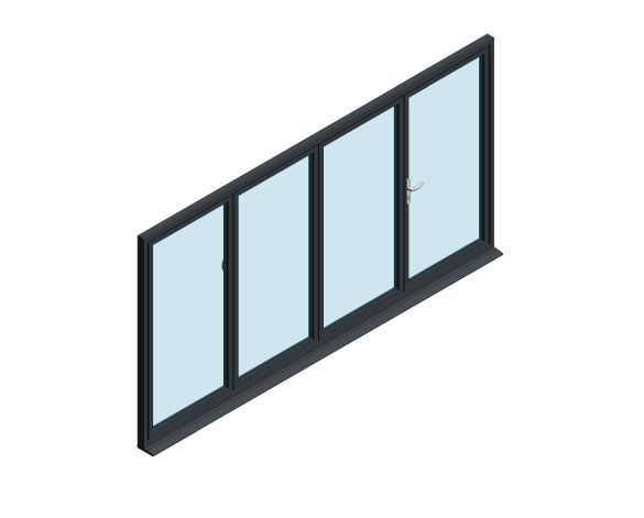 Product: OB-72 Aluminium Bi-fold Door (3+1)