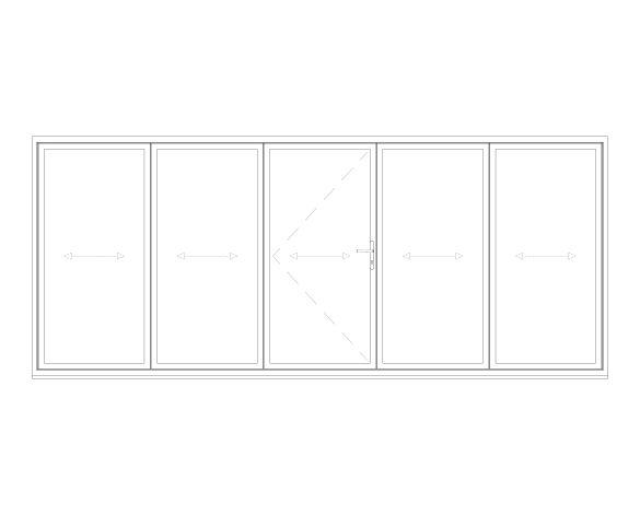 Product: OB-72 Aluminium Bi-fold Door (3+2)