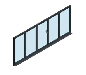 Product: OB-72 Aluminium Bi-fold Door (3+2)