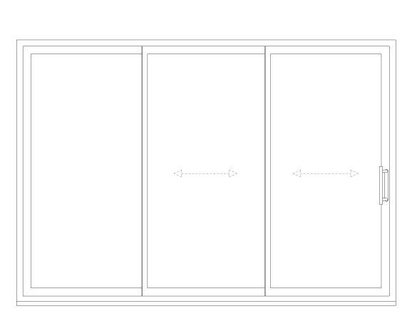 Product: OS-44 Inline Slider Doors - 3 Panel - 1 Fixed / 2 Sliding