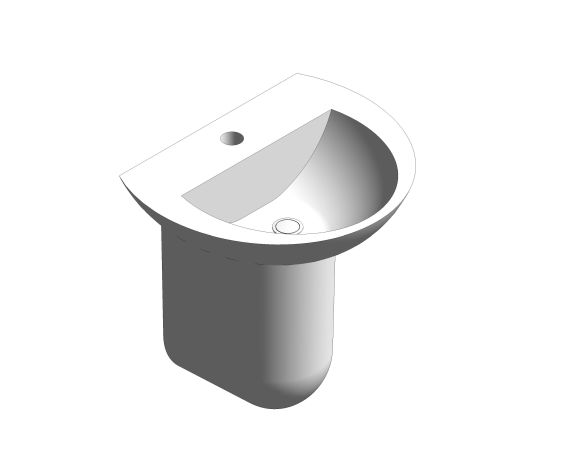 bimstore 3D image of the 450mm Basin and Semi Pedestal from Trade Washrooms