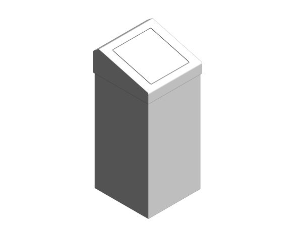 bimstore 3D image of the Stainless Steel 50-Litre Waste Bin Flap Lid from Trade Washrooms