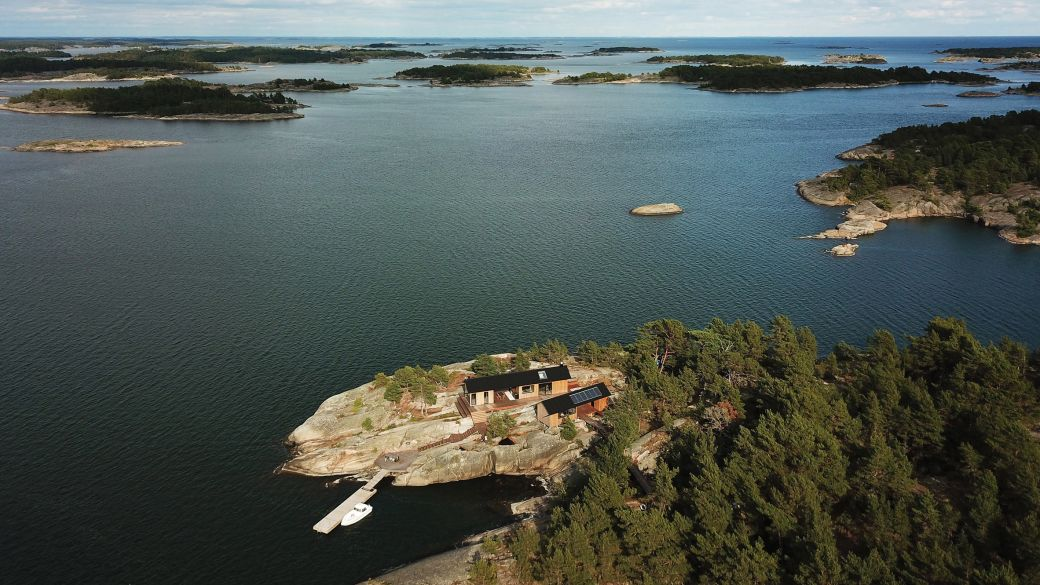 cabins on island in Finland