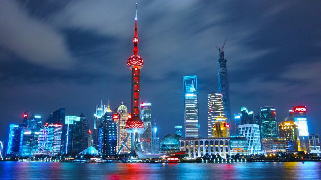 Shanghai skyline night smart spaces technology